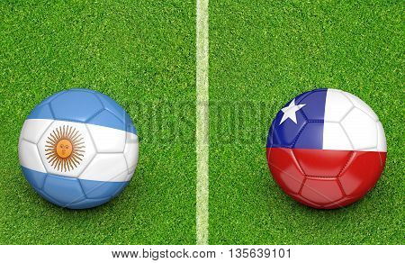 Team balls for Argentina vs Chile football tournament match, 3D rendering