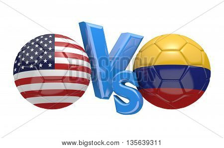 Football competition between national teams United States and Colombia, 3D rendering