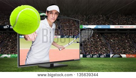 Female athlete playing tennis against composite image of tennis ground with supporter
