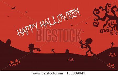 Happy Halloween zombie pumpkins tomb backgrounds illustration