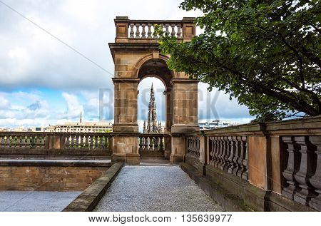 Great Britain Scotland Edinburgh view of the city from the Bank of Scotland courtyard.