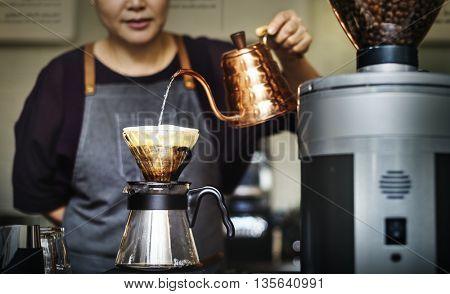 Barista Drip Pouring Apron Cafe Brew Waitress Concept