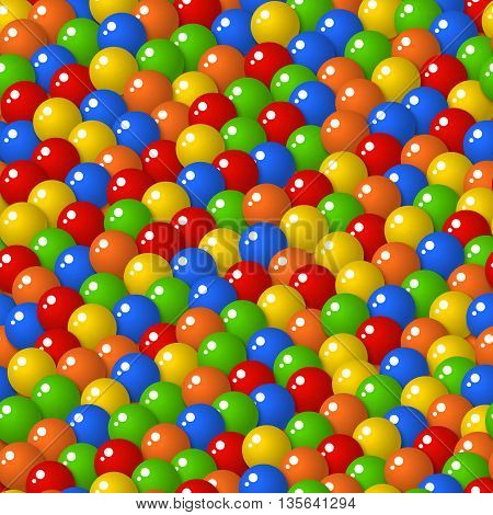 Colorful pattern with a lot of gumballs mixed colors. Seamless vector background. Bright game background with glossy balls.