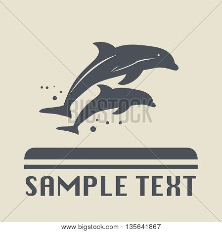 Abstract Dolphin icon or sign, vector illustration