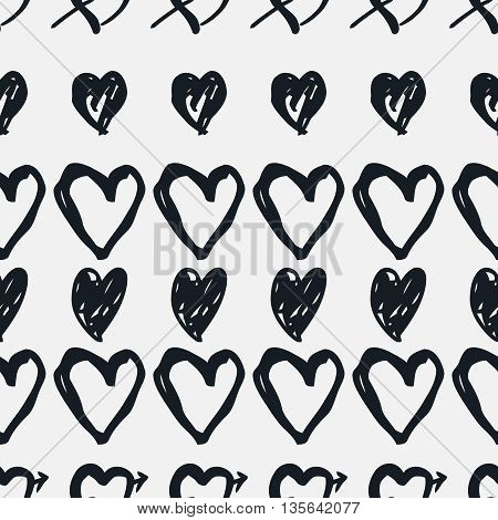 Doodle seamless pattern with hearts. Hand-drawn monochrome  heart vector background. Seamless heart pattern. Valentine day background