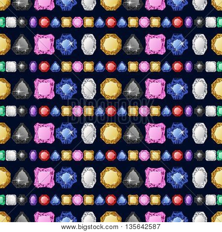 Diamonds seamless pattern. Vector illustration jewerly. Abstract diamond vector background. Jem seamless pattern. Colorful jemstones. Seamless background, brilliant jewels. Wealth concept