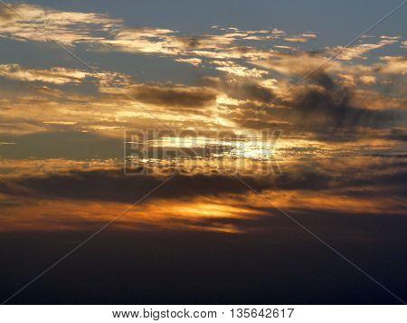 Spectacular cloudy sunrise at mount Sinai Egypt