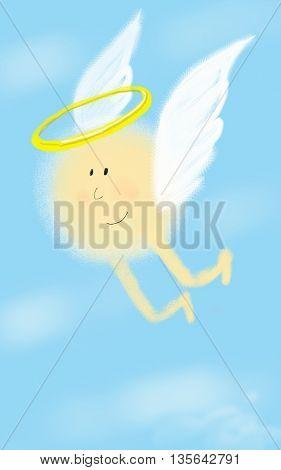 Солнечный ангел летит в небе и улыбается. Sunny angel is flying in the sky and smiling.
