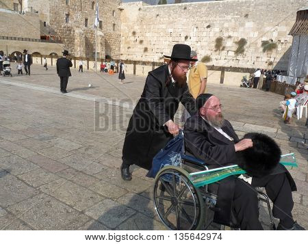 Jerusalem Israel - October 9 2009: The Western Wall Wailing Wall or Kotel