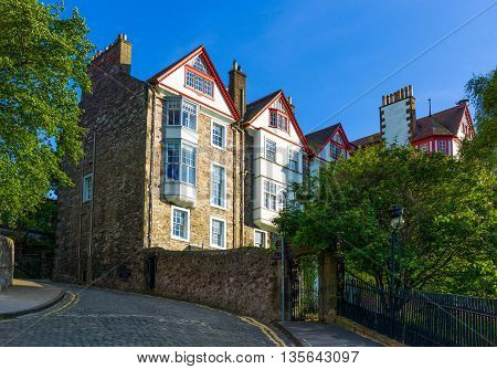 Great Britain Scotland Edinburgh traditional houses in the Mount palace area.
