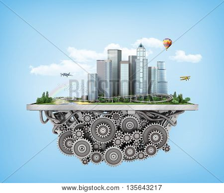 Concept of city. City with trees grass and clouds on the gears mechanism on a blue background. 3d illustration