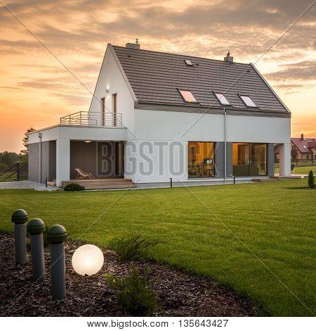 Home With Green Garden