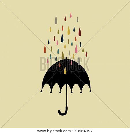 vector drop and umbrella background card