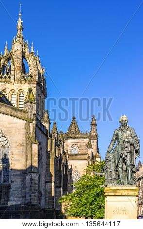 Great Britain Scotland Edinburgh Royal Mile the apse of the St Giles Cathedral and the monument to Adam Smith.
