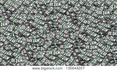 Packs of One Hundred Dollars  as  Background. Digital painting illustration collage of hundred USA dollar bills piled
