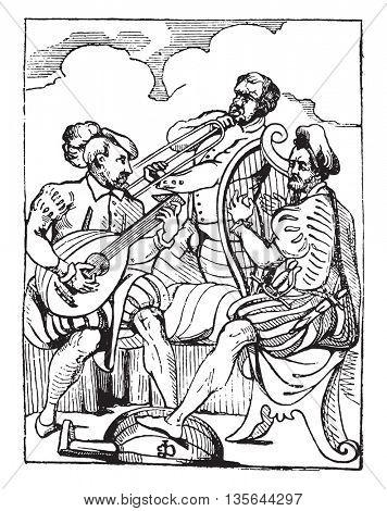Musicians. Players harp and lyre, vintage engraved illustration. Magasin Pittoresque 1836.