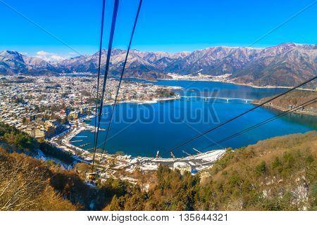 JAPAN - FEBRUARY 2, 2016: kawaguchiko lake from kachi ropeway