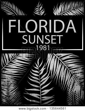 Florida typography with floral illustration for t-shirt print; vector illustration.