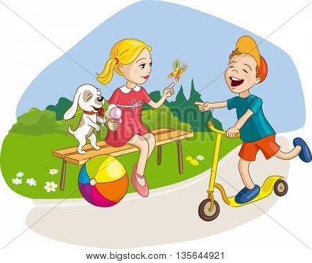 Girl, boy and dog having fun, summer vacation in park with ice-cream and scooter. Vector illustration for kids, children