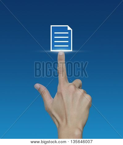 Hand pressing document icon on blue background