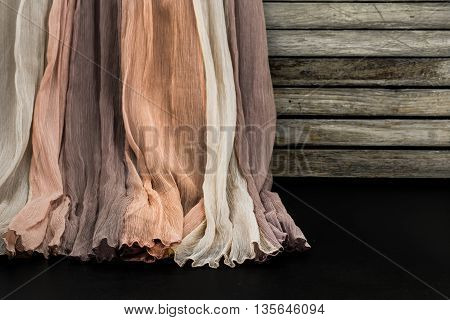 Beautiful Fabric, Weighs On Wooden Background