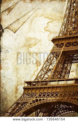 Abstract view of the Eiffel Tower in Paris. France