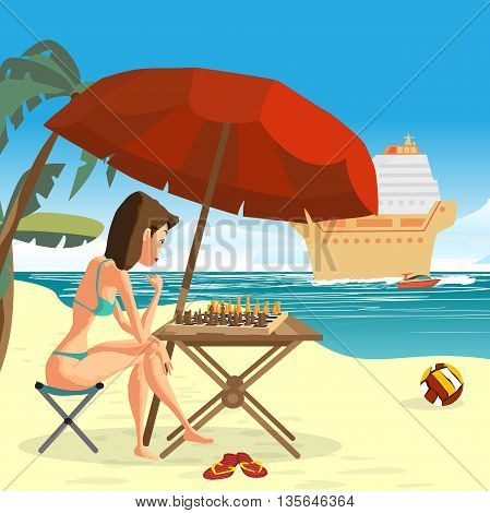 Young woman in a bikini playing chess with herself sitting on the beach under an umbrella. Vector flat cartoon illustration. Sea landscape summer beach with cruise liner