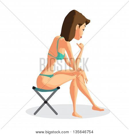Slender brunette in a green bikini sitting on a folding chair on the beach. Isolated flat cartoon illustration. The comic tall brunette on the beach in green bikini