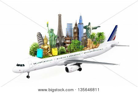 concept travel. travel the world by airplane attractions planet 3d illustration