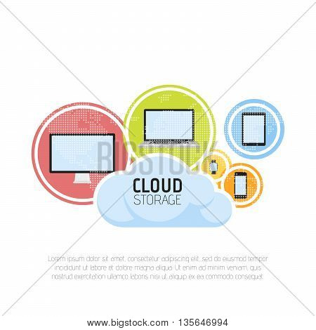 Cloud storage banner concept. Map background. Vector illustration