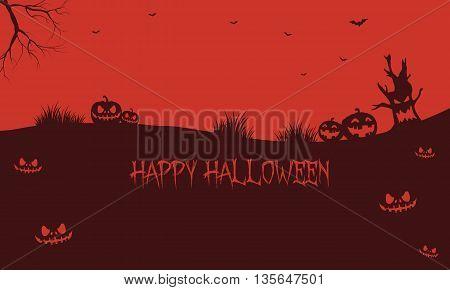Pumpkins backgrounds Halloween silhouette vector art illustration