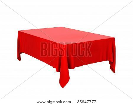 Red tablecloth isolated on a white background .