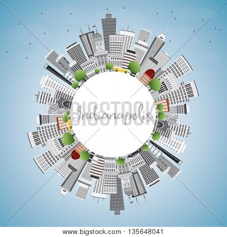 Indianapolis Skyline with Gray Buildings, Blue Sky and Copy Space. Business Travel and Tourism Concept with Modern Buildings. Image for Presentation Banner Placard and Web Site.