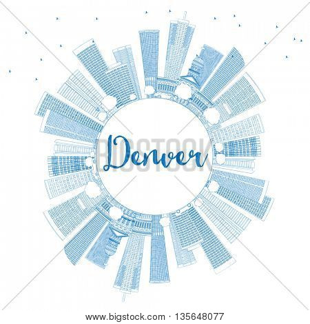 Outline Denver Skyline with Blue Buildings and Copy Space. Business Travel and Tourism Concept with Modern Buildings. Image for Presentation Banner Placard and Web Site.