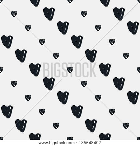 Doodle seamless pattern with hearts. Black and white heart vector background. Seamless heart pattern. Valentines day background