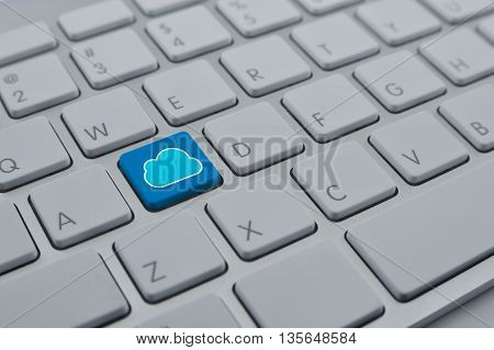 Cloud icon with copy space on modern computer keyboard button Cloud computing network concept
