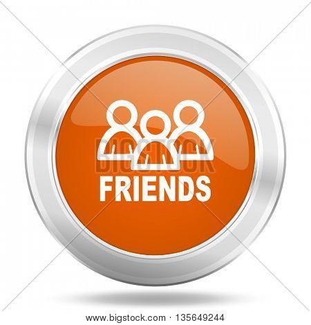 friends vector icon, metallic design internet button, web and mobile app illustration