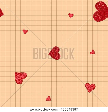 Hand-drawn doodle seamless pattern with hearts. Red heart vector background. Good for web, print, wrapping paper