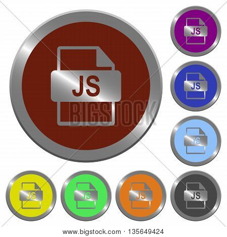 Set of color glossy coin-like JS file format buttons.
