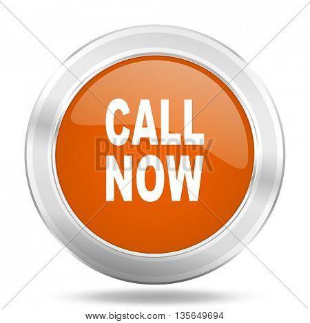 call now vector icon, metallic design internet button, web and mobile app illustration