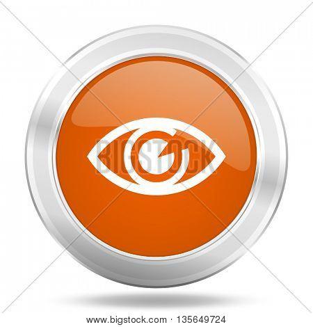 eye vector icon, metallic design internet button, web and mobile app illustration