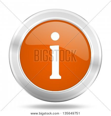 information vector icon, metallic design internet button, web and mobile app illustration