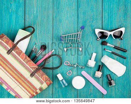 Summer Women Set With Straw Bag, Sunglasses, Shopping Carts, Cosmetics Makeup And Essentials