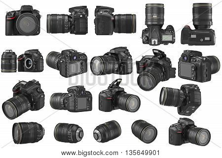 Set digital DSLR photo camera professional. 3D graphic