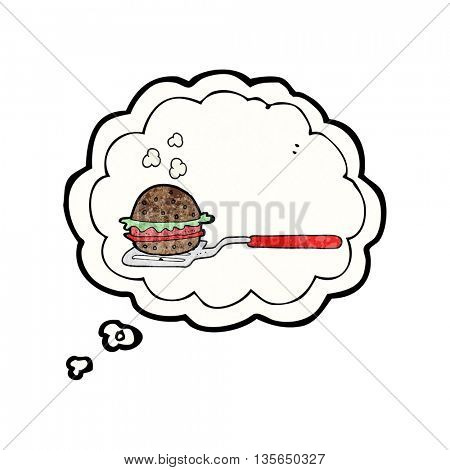 freehand drawn thought bubble textured cartoon spatula with burger