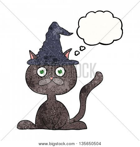 freehand drawn thought bubble textured cartoon halloween cat