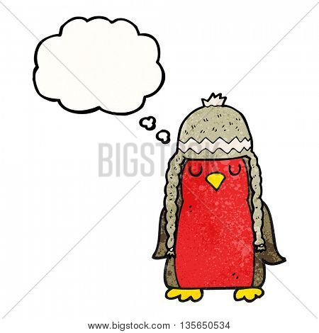 freehand drawn thought bubble textured cartoon robin wearing winter hat