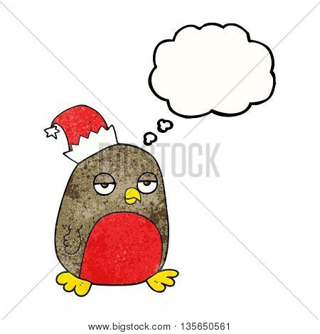 freehand drawn thought bubble textured cartoon christmas robin wearing christmas hat