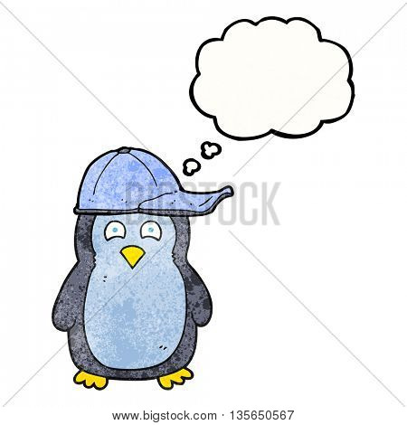 freehand drawn thought bubble textured cartoon penguin wearing hat