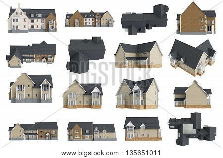 Set houses cottages facade, collection. 3D graphic